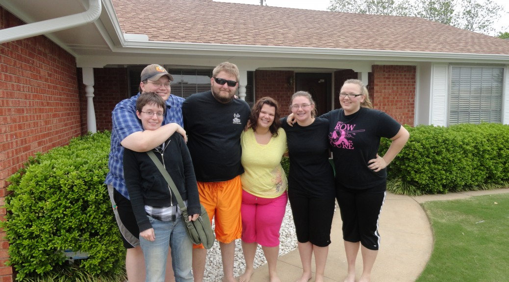 Family together. Saying good bye to my grandparents house.