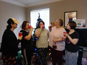 Toasting Rose Regale Champagne with my niece, sisters and mom in Dallas for Christmas 2017